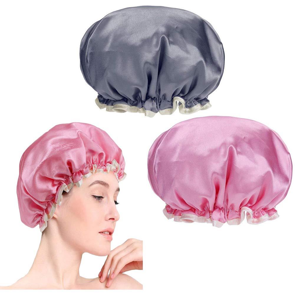 2 x Bonnets de douche doubles et imperméables, Lomire Bonnets de bain élastiques et réutilisables - outil parfait de l'utilisation domestique, d'hôtel, SPA, ou coiffeur pour femmes d' hôtel