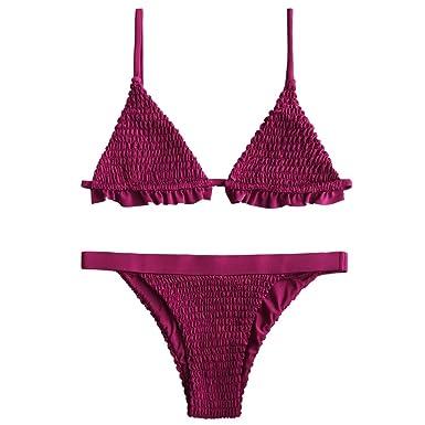 b1b05bbebe3a9d ZAFUL Women s Bralette Smocked Ruffles Bikini Set (Purplish Red XL ...
