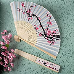 Fashioncraft Delicate Cherry Blossom Design Silk Folding Fan, 8.25 Inch , White with Pink/Black