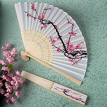Delicate Cherry Blossom Design Silk Folding Fan Favors, 36