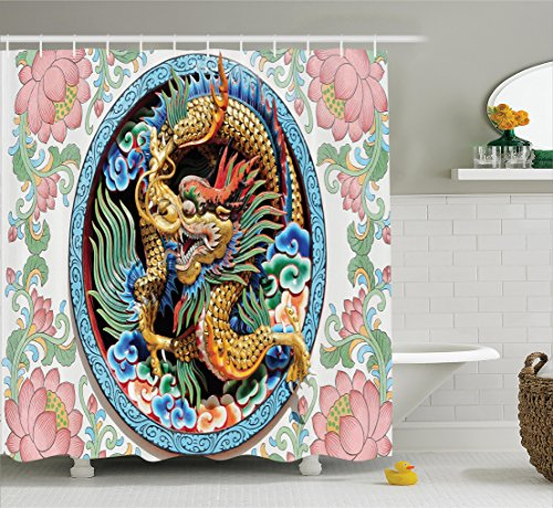 Ancient Chinese Dragon (Ambesonne Dragon Decor Collection, Ancient Legendary Chinese Dragon on Embellished Floral Backdrop Esoteric Dynasty Icon Concept, Polyester Fabric Bathroom Shower Curtain Set with Hooks, Multi)