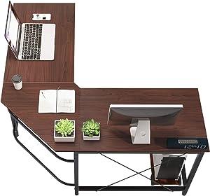 SogesGame 59 x 59 Inches Large L-Shaped Desk Corner Table Computer Desk Gaming Desk PC Laptop Home Office Desk, Walnut, ZJ02-WB-S8-US
