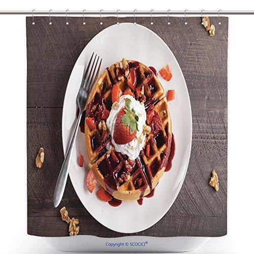Elegante para ducha cortinas conjunto con tapa de trigo Bélgica Waffle con Boysenberry Jarabe Crema Batida Nueces y Freshly...
