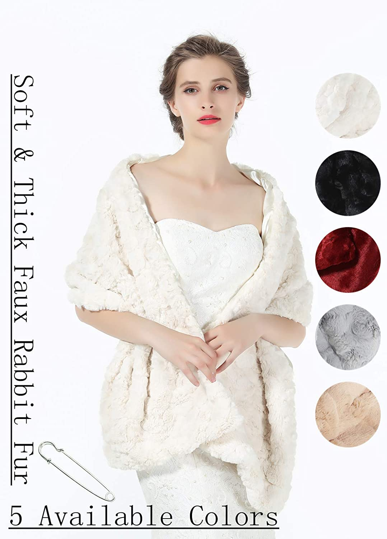 accessorio per abito da sera invernale Beautelicate Scialle da sposa in finta pelliccia per damigelle donore anni 20