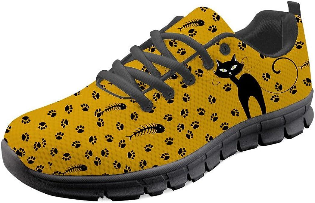AXGM - Zapatillas de Correr para Hombre, Zapatillas para Correr, Zapatillas para Correr, Negras con diseño de Gato, Color Amarillo, Transpirables: Amazon.es: Zapatos y complementos