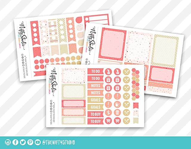 Amazon.com: Peach Hearts Print Weekly Planning Stickers ...