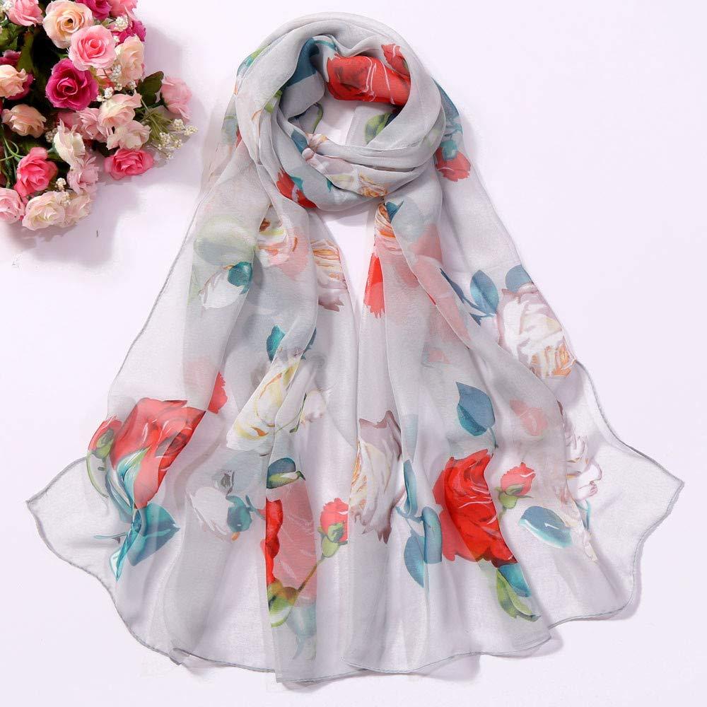 Toaimy Scraf Fashion FemalS Roses Printing Long Soft Wrap Scarf Simulation Silk Shawl Scarves