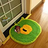 "Luxbon Approx. 21x22"" Super Cute Child Cartoon Green Apple Shaped Soft/Smooth/Flexible Carpet/Mat/Rug Floor/ Bedroom/Living Room/Bathroom/Kitchen/Area/Home Decoration"