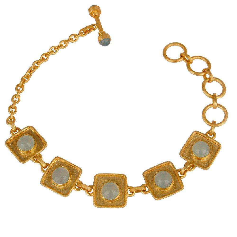 Gold Plated Chalcedony Gemstone Handmade Chain Bracelet