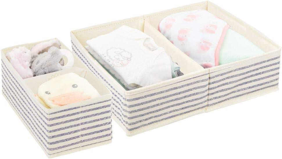 lila//wei/ß gepunktet Aufbewahrungssystem mit ansprechendem Punktemuster Organizer in 2 Gr/ö/ßen f/ürs Kinderzimmer mDesign 2er-Set Aufbewahrungsbox
