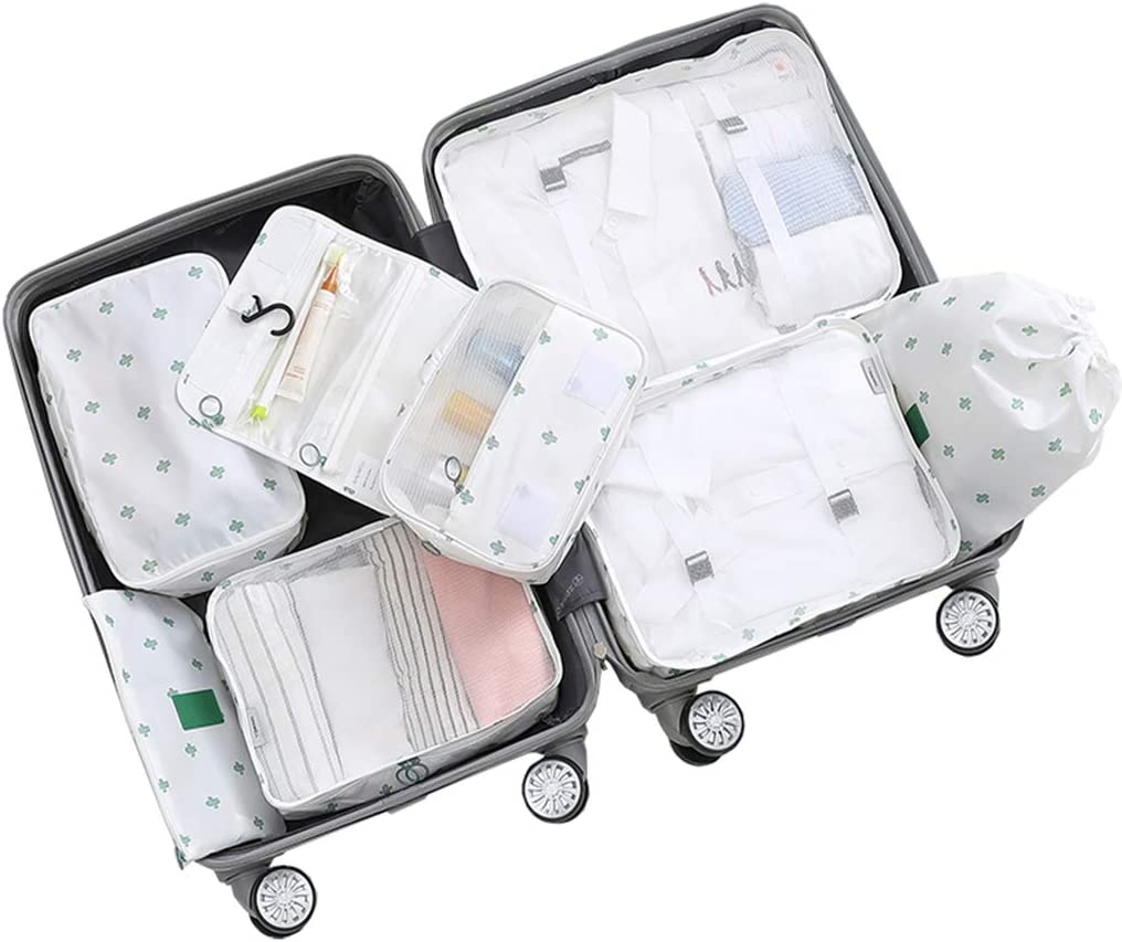 7 Set Packing Cubes,Travel Storage Wash Bag Clothes Underwear Storage Bag Sub-Package Portable Suit Luggage Classification,B
