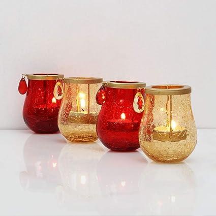 Buy Home Centre Raga Orchard Crackle Tea Light Holders-Set