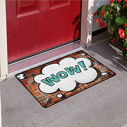 GloriaJohnson Brick Wall Commercial Grade Entrance mat Red Cracked Brick Wall British Backdrop UK English Pop Art Cloud 90s Grunge for entrances garages patios W15.7 x L23.6 Inch Multicolor