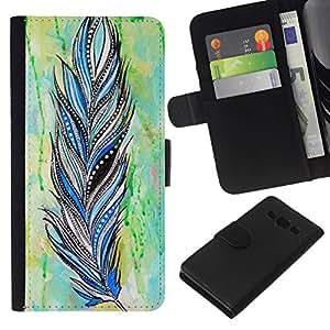 All Phone Most Case / Oferta Especial Cáscara Funda de cuero Monedero Cubierta de proteccion Caso / Wallet Case for Samsung Galaxy A3 // Feather Indian Pattern Watercolor