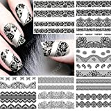 Black lace lingerie fishnet nail art stickers Iridescent paisley bohemian flower child hippie butterfly nail decals nail vinyls nail tattoo nail wraps water transfer