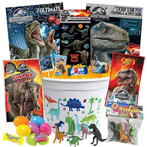 (Jurassic Park Easter Basket Kit, 21 Pieces, Jurassic Park Coloring Books, Dinosaur Toys, Dinosaur Easter Candy, Jurassic Park Stickers, Jurassic Park Jelly Beans, Easter Eggs, Easter Grass and More )