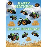Club Pack of 48 Green and Blue Tractor Happy Birthday Party Stickers