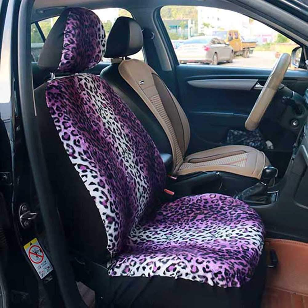WYW Leopard Short Plush 2-teiliges Set Einzelsitz Autositzbezug Kissen 4 Jahreszeiten Sind /üblich Geeignet f/ür Die Meisten 5-sitzer Autos und Gel/ändewagen