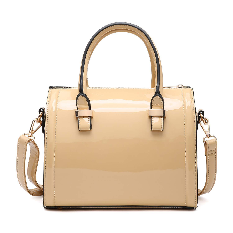 abe40d33e7 Shiny Patent Faux Leather Handbags Barrel Top Handle Satchel Bag Shoulder  Bag for Women