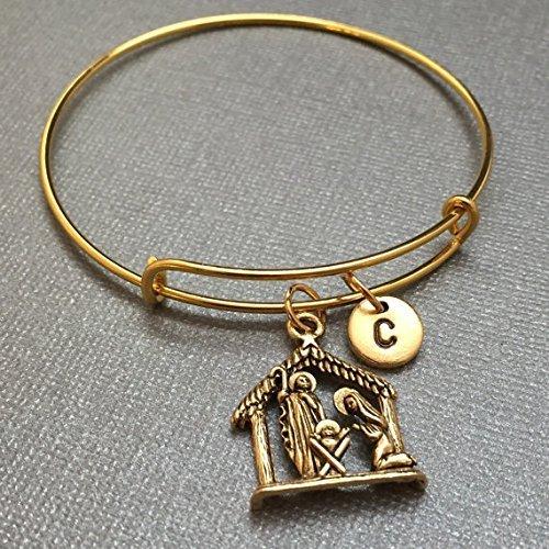 Nativity Scene Charm - Nativity scene bangle, nativity scene charm bracelet, expandable bangle, charm bangle, personalized bracelet, initial bracelet, monogram