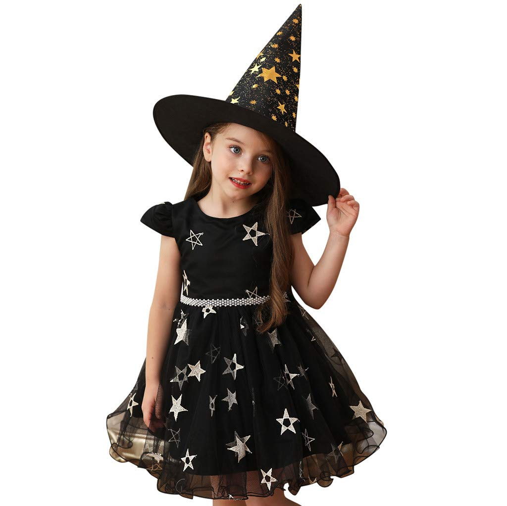 Baby Girls Fairytale Witch Costume Dresses,Halloween Star Princess Cosplay Performance+Hat Outfit 12M-9T (18-24 Months, Black)