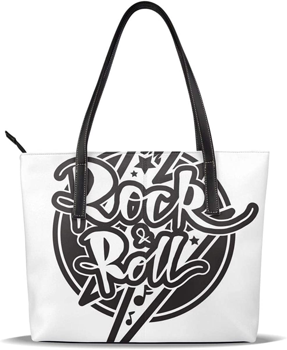 Rock Roll Lettering Womens Leather Tote Shoulder Bags Top Handle Handbags