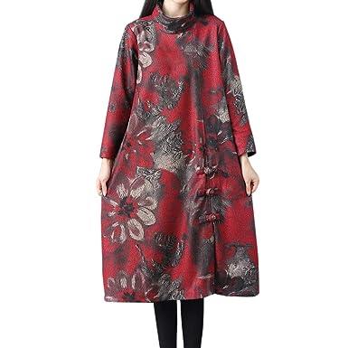 Womens Floral V Neck Long Parka Retro Casual Outwear Jackets Split Velvet Coats