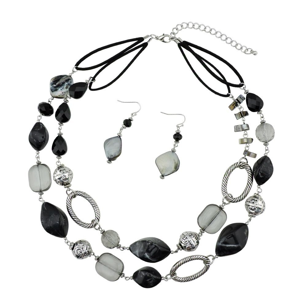 BOCAR 2 Strand Statement Choker Shell Necklace and Earring Set for Women Gift (NK-10370-black)
