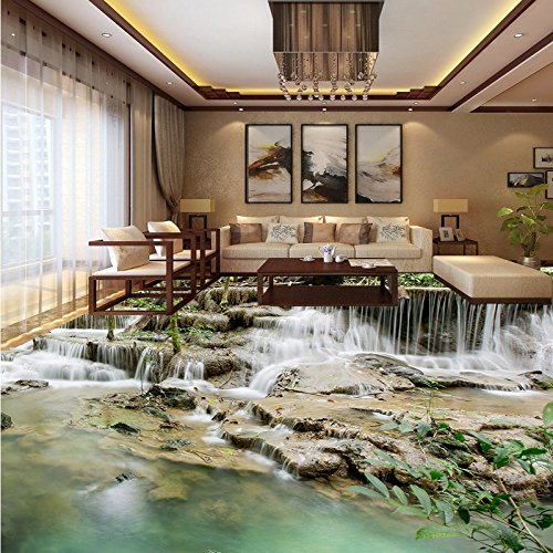 LHDLily Restaurant Square Flooring Painting Hd 3D Outdoor Natural Waterfall Self-Adhesive Pvc Floor Wallpaper Mural ()
