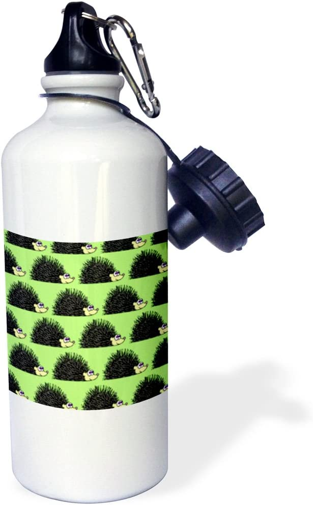 Sports Water Bottle 3dRose wb/_13855/_1 Cute Hedgehog Print Green White 21 oz