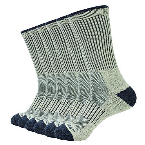 Enerwear 6P Pack Men's Outlast Blended Hiking Crew Socks(10-13/Shoe: 6-12, - Men Nylon Tumblr