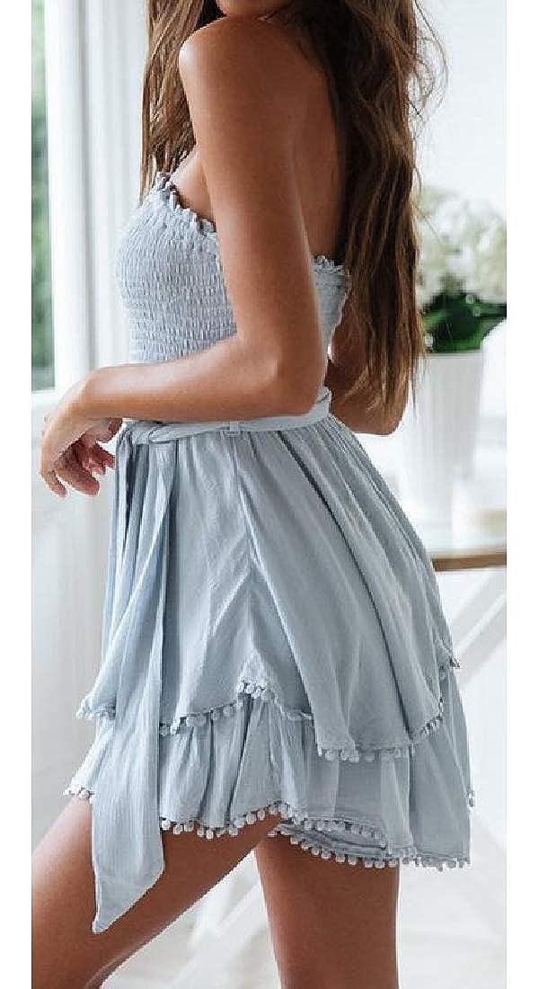 Joe Wenko Womens Bandeau Linen Tie Basic Ruffled Belt Ruched Midi Dresses