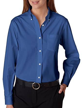 4ab1280fdf1 Image Unavailable. Image not available for. Color  Van Heusen 13V0110 Ladies   Long-Sleeve Blended Pinpoint English Blue XL