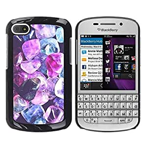 Caucho caso de Shell duro de la cubierta de accesorios de protección BY RAYDREAMMM - BlackBerry Q10 - Gem Blue Jewel Diamond