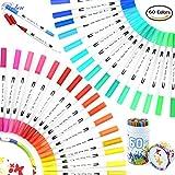 60 Colors Dual Tip Brush Pens Art Markers 0.4mm Fine Liners & Brush Tip Watercolor Pen Set for Adult Coloring Books