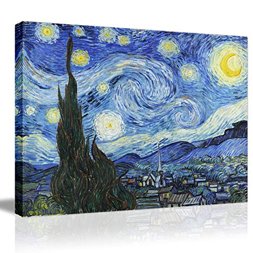 - Starry Night Canvas Prints Framed Wall Artwork-Van Gogh Famous Oil Painting Giclee Stretched Modern Wall Art for Home Decoration Gallery Wrapped Ready to Hang Vintage Wall Picture Picabala-16×12