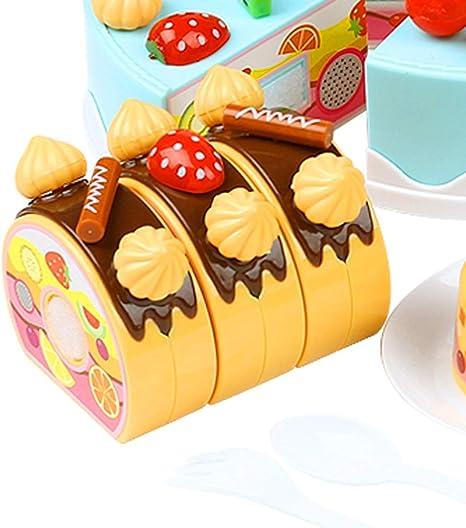 fongfong Juego de Pastel de cumpleaños DIY Kit juguetes Pastel y sintética y frutas dînettes niño Role Play juguete educativo interactivo para niños niña niño Accessories Cake Toys regalo para Children a