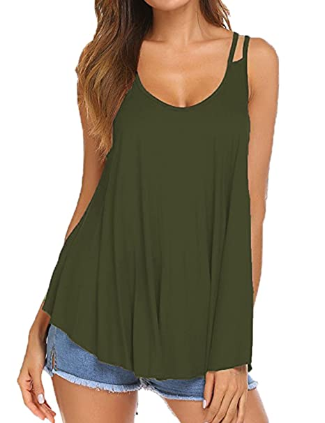 dc9cb7ca2159a6 Sechico Women s Pleated Flowy Tank Top Loose Casual Blouse (Army Green ...
