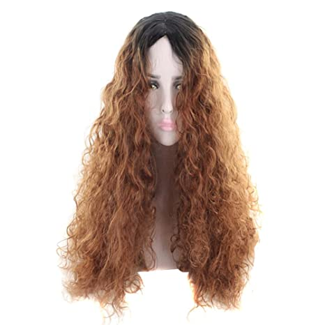 Espeedy Mujeres pelucas onduladas largas onduladas Peluca de pelo marrón Cosplay accesorios de extensión del pelo