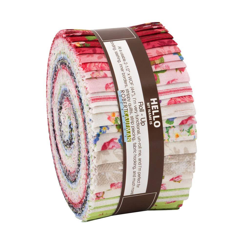 Lynnea Washburn Farmhouse Rose Roll Up 40 2.5-inch Strips Jelly Roll Robert Kaufman RU-835-40