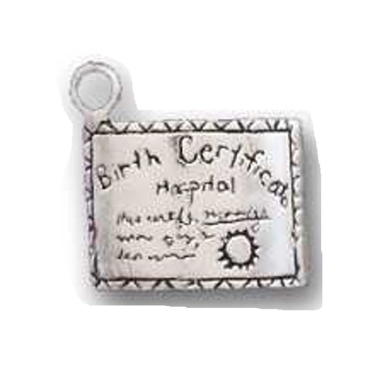 Sterling Silver Girls .8mm Box Chain 3D Birth Certificate Pendant Necklace