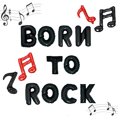 JeVenis Born to Rock Balloons Rock n' Roll Party Decoration Rock Birthday Banner Born to Rock Decor Rock and Roll Birthday Banner Rock N' Roll Party Decorations: Toys & Games
