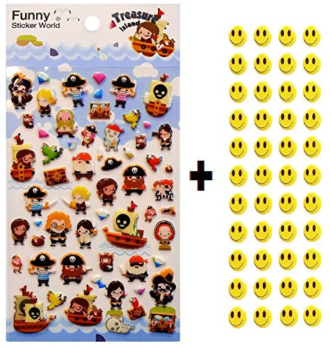 rapbooking Stickers, YOU PICK, + 43 FREE Smiley Stickers - Pirate, Treasure... (Smiley Pirate)