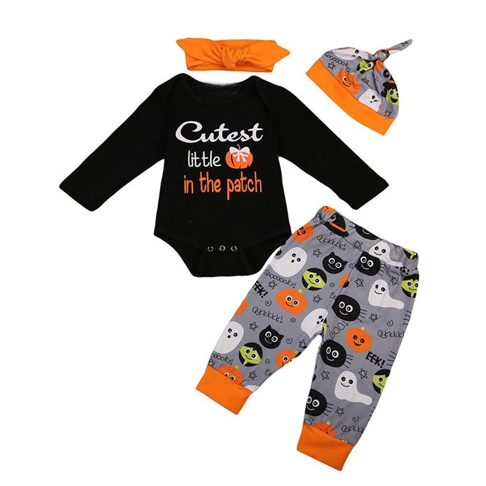 ALIKEEY 4Pcs Halloween Niños Bebé Carta Imprimir Mameluco + Pantalones + Gorro + Diademas Conjunto Traje Baberos Falda CláSica