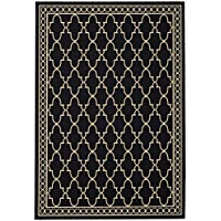 Safavieh Courtyard Collection CY5142D Black and Beige Indoor/ Outdoor Area Rug (53 x 77)