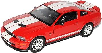 Welly Ford Shelby Mustang V Cobra Gt500 Rot Mit Weiss 2005 2009 1 24 Modell Auto Mit Individiuellem Wunschkennzeichen Spielzeug