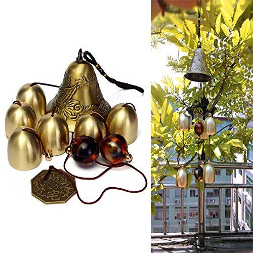 - Pink Lizard 6 Bells Copper Clock Yard Garden Outdoor Living Amazing Wind Chimes