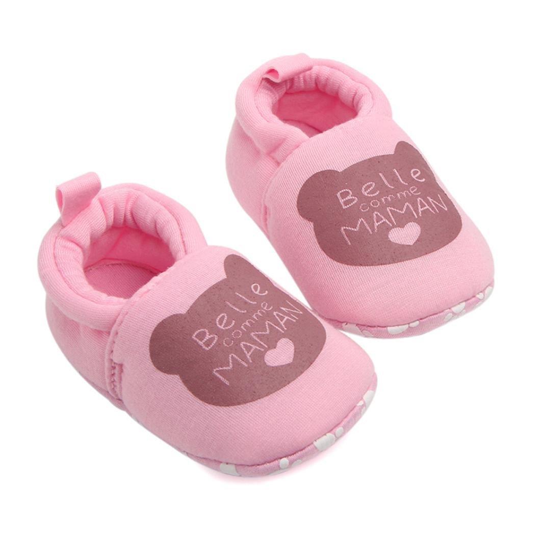 Moonuy Zapatos de bebé de los primeros caminante de los niños hermosos Zapatos redondos del dedo del pie de los deslizadores suaves Zapatos lindos del oso 3-12Month