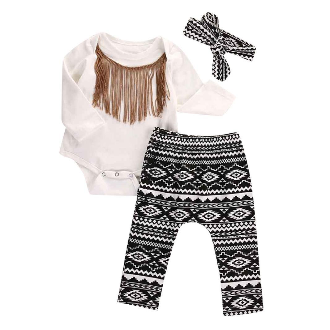 Bekleidung Longra 3pcs Set Säugling neugeborenes Mädchen Quasten Strampler + Hosen + Stirnband Legging Outfits Bekleidungssets (0 -24 Monate)