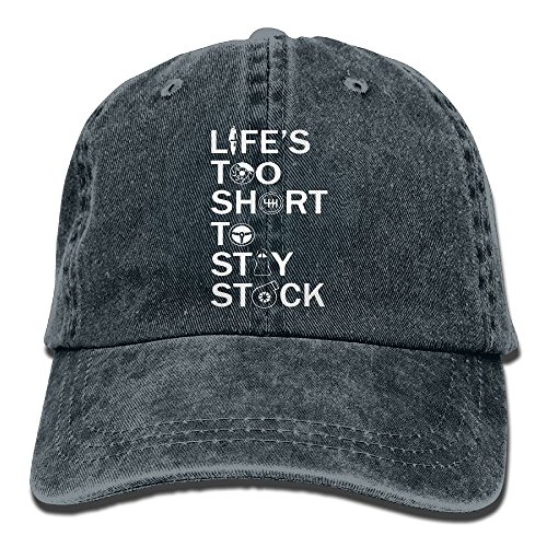 E Isabel Lifes Too Short To Stay Stock Adjustable Running Cotton Washed Denim Cap Navy